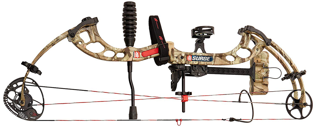 PSE Ready To Shoot Surge Bow Package with Right Hand 70# Draw, Break-Up Infinity, 29-Inch