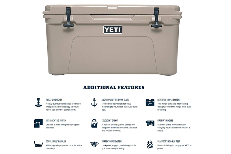 Features YETI Tundra 65 Cooler
